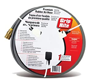 Grip-Rite GRPRB1410C Premium Rubber Air Hose with Couplers, 1/4-Inch by 100 Feet