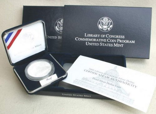 2000 Proof Library of Congress Commemorative Silver Dollar