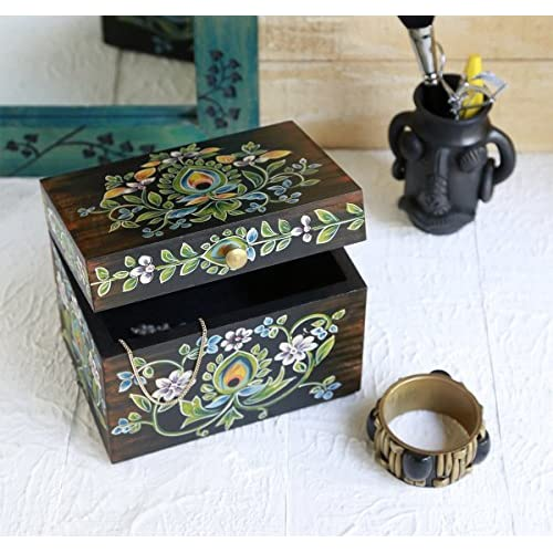 Trinket Ring Box Jewelry Holder Organizer Multipurpose Hand Painted Floral Design Small Wooden Storage Box