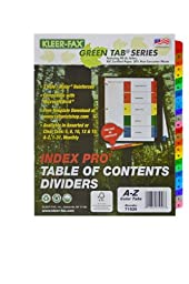 Kleer-Fax Index Pro - Table of Contents Dividers, 26 Tab - A to Z, 11 x 9 x 1/4 Inches, One Set, Assorted Colors, 71926