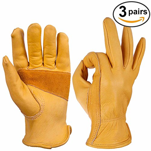 Work Gloves, Ozero Cowhide Grain Leather Glove for Motorcycle, Driving, Yard, Gardening - Perfect Fit - Durable and Good Grip - Elastic Wrist - 3 pairs Pack (Large) (Fly Accesories compare prices)