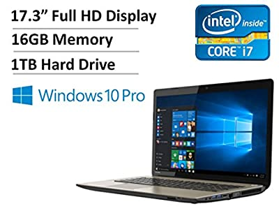 "2016 Newest Toshiba Satellite 17.3"" FHD High Performance Premium Laptop PC - Intel Quad Core i7-4720HQ Processor, 16GB RAM, 1TB HDD, DVD Burner, Wireless AC, HDMI, Backlit Keyboard, Windows 10 Pro"
