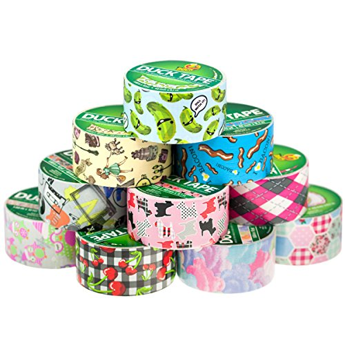 10 Rolls Duck Duct Tape Patterns Coloured Designs 1.88″ x 30′ Paris Dill Pickle
