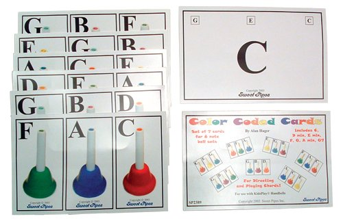Sweet Pipes Color Coded Handbell Cards, 7 Chord Set for 8 Note Handbells