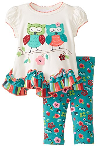 Bonnie Baby Baby-Girls Newborn Owls In Love Legging Set, Ivory, 3-6 Months front-936598