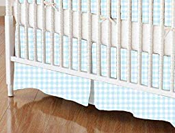 SheetWorld - Crib Skirt (28 x 52) - Blue Gingham Jersey Knit - Made In USA