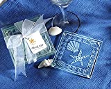 Coasters Shell and Starfish Frosted Glass (24 sets of 4 per order) Wedding Favors