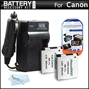 2 Pack Battery And Charger Kit For Canon Powershot Elph 320 HS Digital Camera Includes 2 Extended Replacement (900Mah) NB-11L Batteries + Ac/Dc Rapid Travel Charger + LCD Screen Protectors + MicroFiber Cleaning Cloth