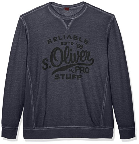 s.Oliver Big Size Mit Logostitching, Felpa Uomo, Blau (Deep Sea 5880), XXXXX-Large