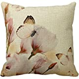 Cateyes Butterfly on flower Cotton Linen Throw Pillow Covers(18 x 18inches)