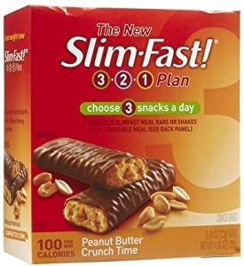 slim-Fast 3-2-1 100-Calorie Snack Bars , Peanut Butter Crunch Time, 6 ct (pack of 4)