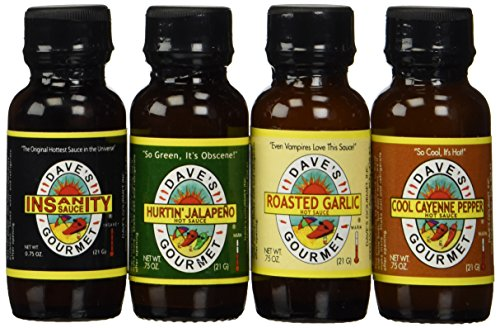 Dave's Gourmet - Hurtin' Jalapeno - Roasted Garlic - Temporary Insanity - Cool Cayenne - Mini Pack - Four 0.75 oz bottles. (Daves Insanity Sauce Gift Set compare prices)