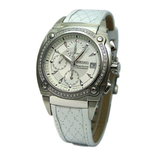 Seiko Womens Srw892 Sportura Chronograph Gold Dial Bronze Leather Watch