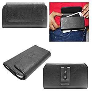 DMG Premium PU Leather Cell Phone Pouch Carrying Case with Belt Clip Holster for Huawei Honor Bee (Black)