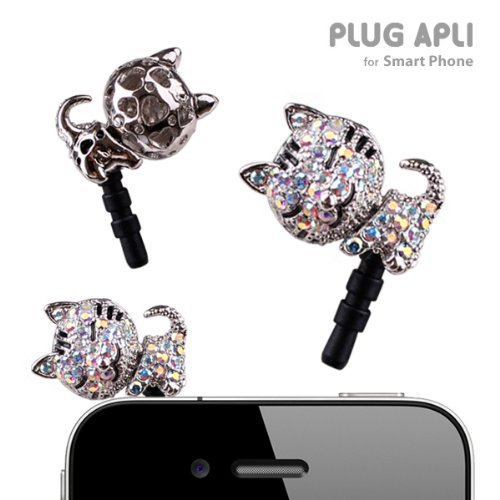 Plug Apli Bling Bling Sleeping Cat Earphone Jack Accessory (Crystal #001Ab)