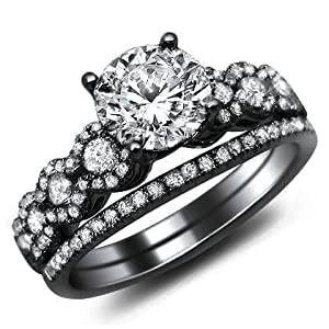 1.26ct Round Diamond Engagement Ring Bridal Set 18k Black Gold with a .50ct Center Diamond and .76ct of Surrounding Diamonds