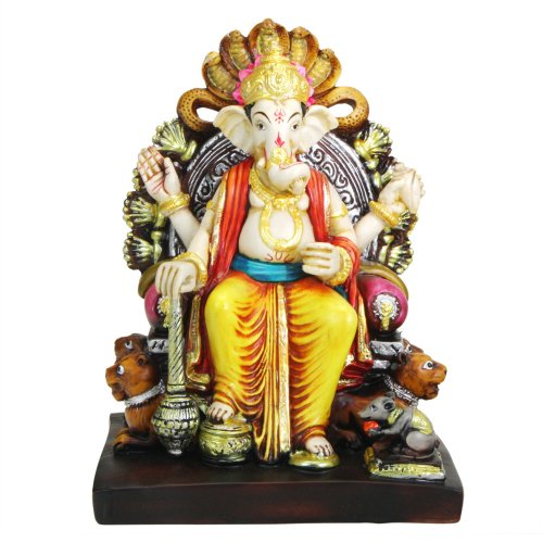 Colorful Ganesh Statue on a Lion Throne