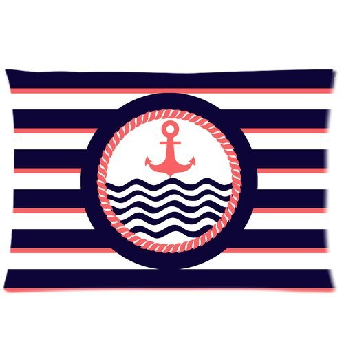 Navy Style Anchor With Blue Pink Stripes Print Custom Zippered Bed Pillow Cases 20X30 (Twin Sides)