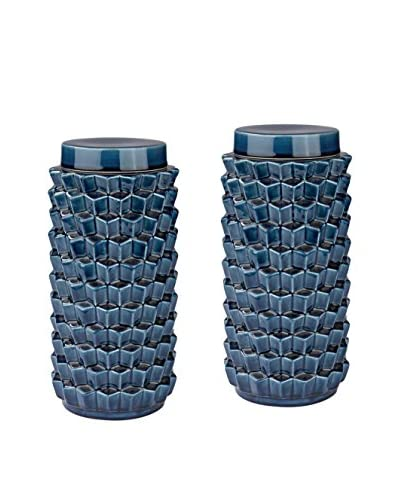 Artistic Set of 2 Navy Blue Crackled Accordion Jars