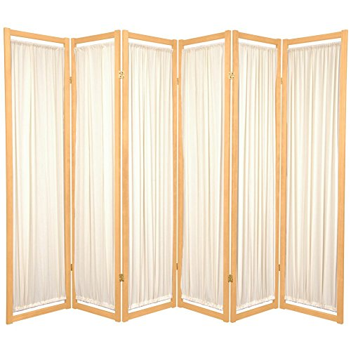 Oriental Furniture Modern Furniture, 6-Feet Helsinki Fabric Japanese Privacy Screen Room Divider, 6 Panel Natural