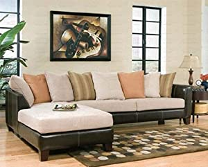 Sectional sofa chaise beige microfiber black for Black microfiber chaise lounge