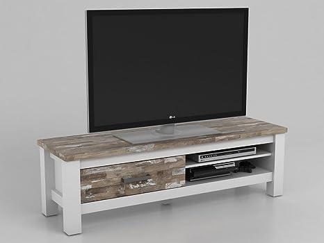 Mueble de TV URBAN de 150 cm pintado en color blanco con un cajón y tabla de apoyo en madera reciclada