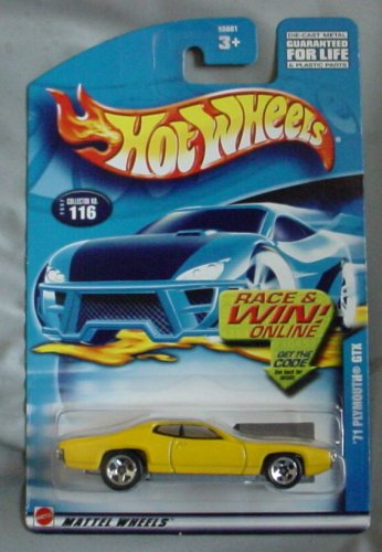 Hot Wheels 2002 '71 Plymouth GTX #116 YELLOW muscle car - 1