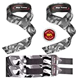 Lifting Straps + Wrist Wraps Bundle (2 PAIRS - Gray Camo) by Rip Toned - *Bonus Ebook* for Weightlifting, Crossfit, Workout, Gym, Powerlifting, Bodybuilding - Lifetime Replacement Warranty!
