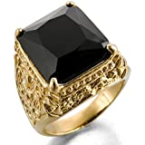 MunkiMix Edelstahl Glas Ring Gold Golden Schwarz Ritter Knight Fleur De Lis Drachen Klaue Gravierte Gravur Retro Herren