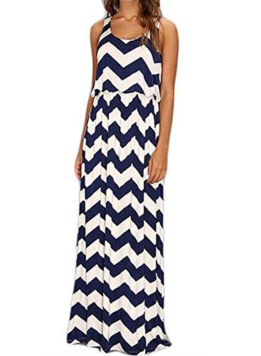Meikeer Women's Chevron Sleeveless Maxi Boho Summer Long Dress