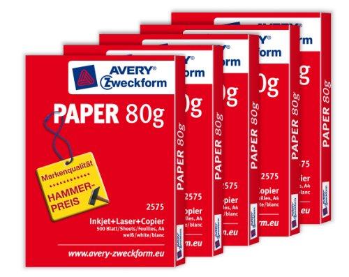 Avery Zweckform 2575 Druckerpapier und Kopierpapier, 80 g, 5 x 500 Blatt