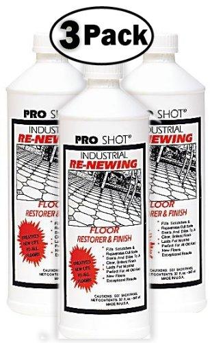 3 PACK Pro Shot Industrial Re-Newing Floor Restorer And Finish (96 oz. - 32 oz. each Bottle) Petrochemical-Free Formula