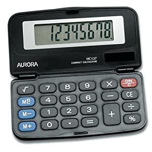 Aurora HC127 Dual Power Executive Foldable Style 8 Digit Hardcase Calculator $6.99