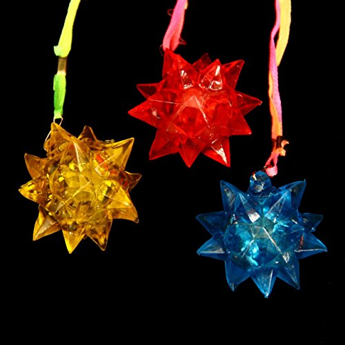 Dazzling Toys Crystal Star Necklace (Green,Yellow,Blue,Red)  - Pack of 12 - Great for Parties and for Halloween