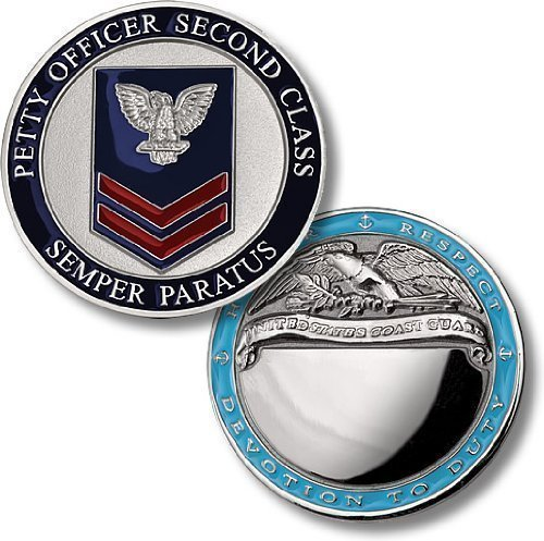 Coast Guard Petty Officer 2nd Class Engravable Challenge Coin