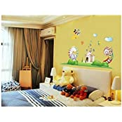 Syga Cute Monkey Cartoon Crystal Wall Stickers Animals For Kids Room Decor