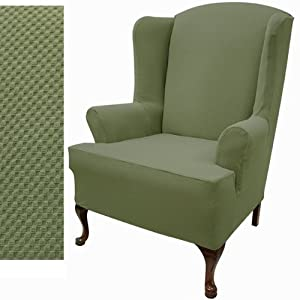 stretch pique wingback chair slipcover color