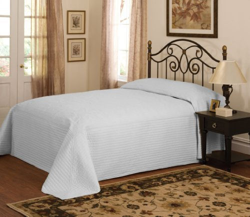 Lifestyle French Tile Bedspread, Queen, Silver front-1050585