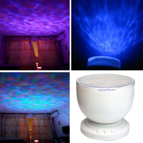 Enjoydeal Novelty Romantic Multicolor 12 Light And 8-Mode Led Ocean Wave Projector Usb Lamp With Mp3 Speaker front-182645