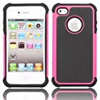 TCD Hot Pink & Black Executive Armor Defender High Impact Combo Hard Soft Gel Case Cover Skin Body for Apple Iphone 5 5G 5S Generation (AT&T