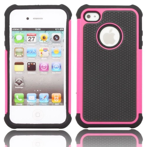 TCD Hot Pink & Black Executive Armor Defender High Impact Combo Hard Soft Gel Case Cover Skin Body for Apple Iphone 4 4G 4S Generation (AT&T, Verizon, Sprint) (Iphone 4 Case Combo Pack compare prices)
