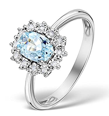 J R Jewellery 9k White Gold Ring With Topaz & Diamonds From Jewellery Quarter London 11x9mm