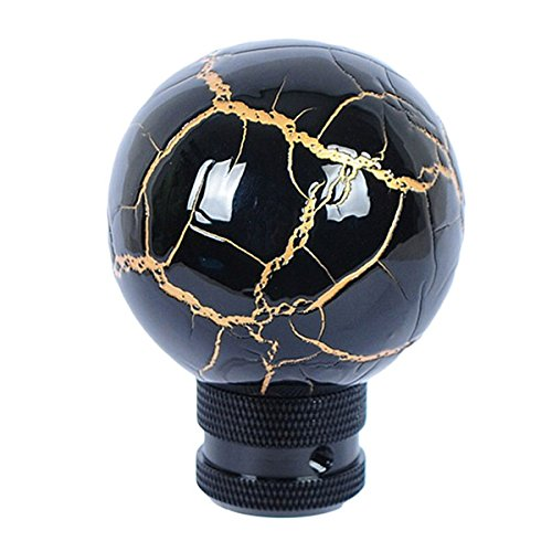 Eternalpower Universal Fit Black Thunder Bolt Ball Manual Stick Shift Knob Fits For Most Cars With Gold Line for Style (Shift Knob Woman compare prices)