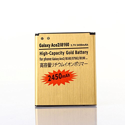Gold Extended Samsung Galaxy Exhibit SGH-T599N High Capacity Battery EB425161LU For Samsung Galaxy Exhibit SGH-T599N / Samsung Galaxy S3 Mini GT-I8190 / Samsung Galaxy Ace 2 GT-I8160 / Samsung Galaxy Exhibit SGH-T599 2450 mAh (Samsung I8160 compare prices)