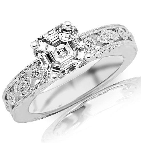 Cheapest 0.73 Carat Asscher Cut / Shape GIA Certified Antique / Vintage Bezel Set Diamond Engagement Ring With Milgrain ( E Color , VVS2 Clarity )