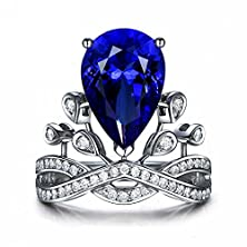 buy Siarola Created Blue Sapphire Teardrop Crown Tiara 18K White Gold Plated Engagement Ring R177B (5)