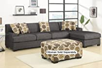 Big Sale Verona Sectional Sofa Set in Faux Linen FInish (Ash Black, sofa & Chaise)