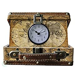 Vintique Wood Old World Map Suitcase Clock, Small