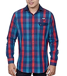 Ivory Men's Casual Cotton Shirt (2871-RED-L)