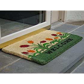 Printed Coco Coir Doormat Welcome Tulip Design